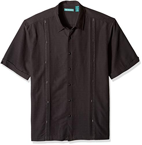 Panel Camp Shirt (Cubavera Men's Short Sleeve Cuban Camp Shirt with Contrast Insert Panels, Jet Black with Variating Tuck Pattern, XX-Large)