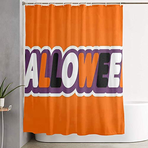 HYHACZX Halloween Word Sticker Bath Curtain 60X72 Inches Shower Curtain Included Hooks ()