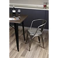 GIA Metal Dining Chairs with Back(SET OF 2) - Gunmetal - Tolix Style - Loft Appearance - Ready to Use - Weight Capacity 300+ Pounds - Extra Durable and Stackable