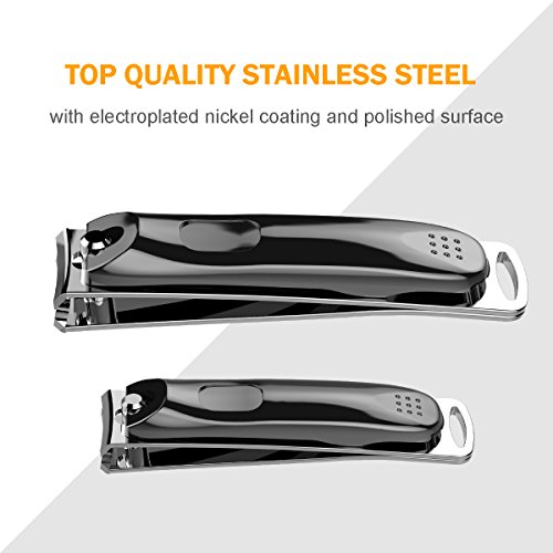 2018 Newest 4PCS Nail Clippers Set,Very Sharp Fingernail & Toenail & Slant Edge Nail Clipper Cutter Set with Metal Case Sturdy Stainless Steel with Fingernail and Toenai (Black) by Yi-gog (Image #3)