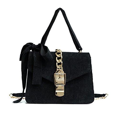HAOXIAOZI Estilo étnico Bolsos De Proa Mini Bolso De Cadena Simple Hombro Messenger Bag Black