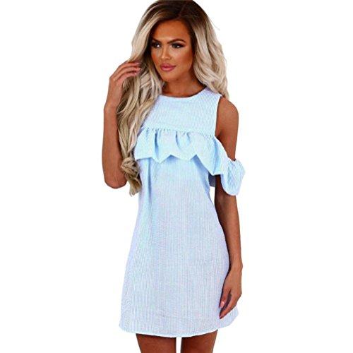 FORUU Hot Sale Girls Womens Off Shoulder Striped Ruffled Sundress Party Summer Casual Mini Dress (S, Blue) -