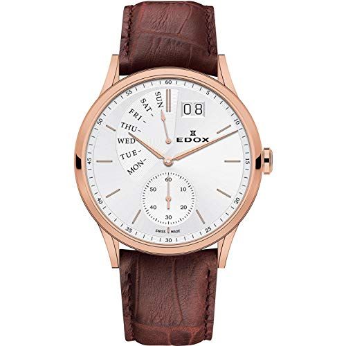 - Edox Men's Les Vauberts 42mm Brown Leather Band Steel Case Quartz Silver-Tone Dial Watch 34500 37R AIR