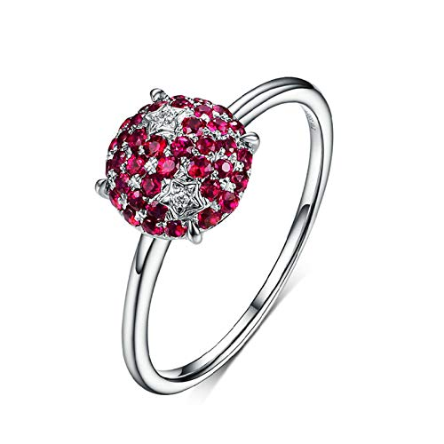 MoAndy White Gold 18K Women's Wedding Bands Statement Ring for Women Ruby 0.39ct Red Size 5.5 ()