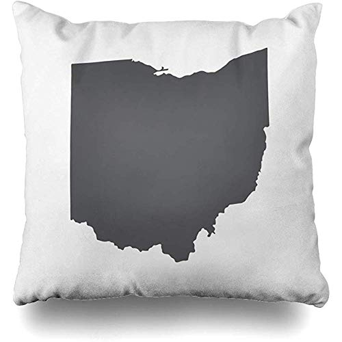Throw Pillows Covers Cleveland Ohio Grey State Border Map Toledo Abstract Home Decor Pillowcase Square Size 18