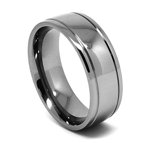 Galleon   8mm Grooved Classic Titanium Mens Wedding Ring Size (6)