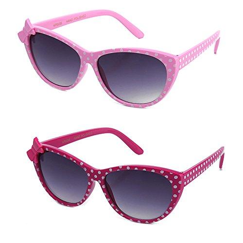 Newbee Fashion - Kids Polka Dot Cute Bow Fashion Sunglasses for Kids Lead - Sun Glasses Girls