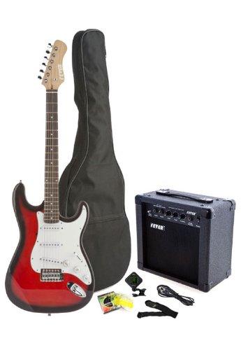 Fever Tamaño Completo Guitarra eléctrica con amplificador de 20 watts Gig Bag Clip Sintonizador de cable Correa y cuerdas color rojo A600 - 20 W-Rd: ...