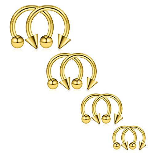 Ruifan 8PCS Surgical Steel CBR Nose Septum Horseshoe Earring Eyebrow Tongue Lip Piercing Ring with Balls & Spikes 14G 8-14mm - Gold