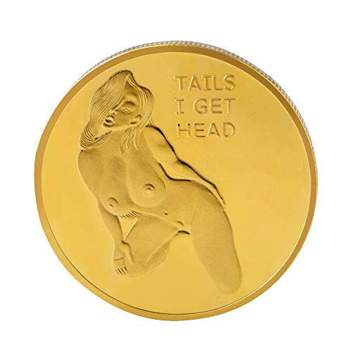 AMOSFUN Tails I Get Head Coin Heads Tails Challenge Coin Commemorative Coins Collection Arts Souvenir Gift (Golden) ()