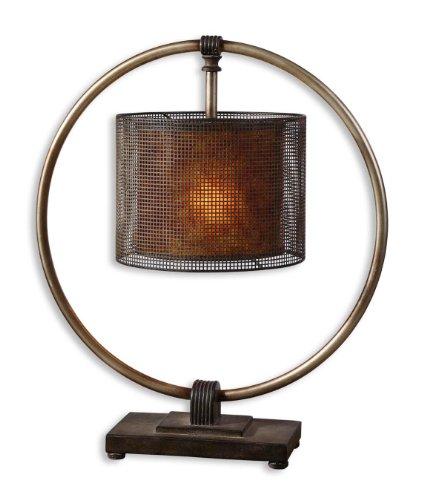 Pierced Metal Hanging Shade Table Lamp Rustic Dark Bronze