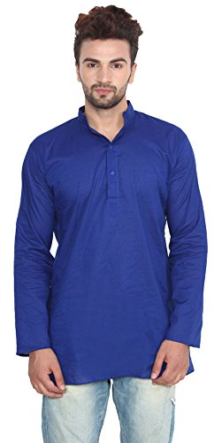 Indian Clothing Fashion Mens Short Kurta Cotton (Blue, XL)