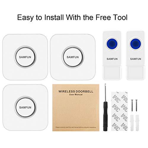 Wireless Doorbell, SAMFUN Waterproof Long Range Door Bell