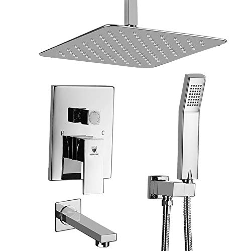 "HIMK Shower System, Ceiling Mount Shower System Chrome with 10"" Rain Shower,Handheld shower and Tub Spout,Shower Faucet Rough-in Mixer Valve and Trim Included"