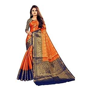 C J Enterprise Women's Kanjivaram Silk Saree Kanchipuram Pattu Sarees With Blouse Piece (D19_orange_dark_navy_blue_wedding)