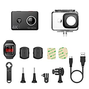 TEC.BEAN 4K Action Camera WiFi 14MP Ultra HD Waterproof Sports Cam 148ft/45M Underwater Camera with 170 Degree Wide Angle Lens and 2.4G Remote, Rechangeable Battery and Accessries Kits