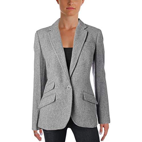 (LAUREN RALPH LAUREN Womens Drosom Fall Tweed One-Button Blazer Gray 10)