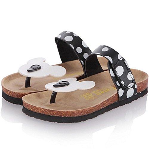TAOFFEN Mujer Comodo Plano Mulas Sandales Clip Toe Punta Abierta Velcro Slide Zapatos Negro