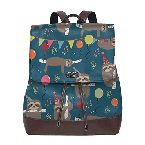 Fashion Leather Backpack Birthday Sloths Purse Waterproof Anti Rucksack PU Leather Bags
