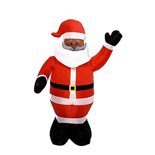 6 Foot Long Christmas Inflatable Santa Claus | Black Santa Inflatable| Yard Decoration Christmas Inflatables -
