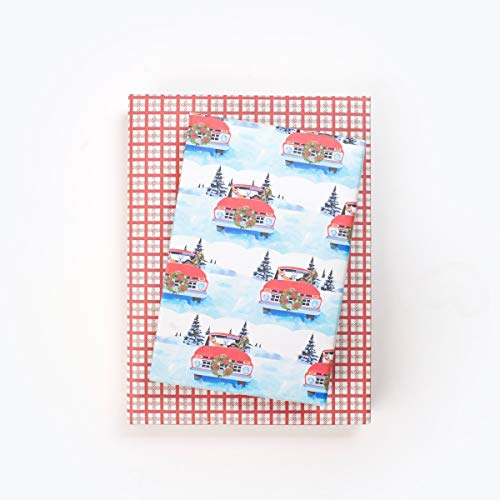 (Country Christmas Vintage Red Truck 'n Dogs - Reversible Holiday Wrapping Paper - Eco Gift Wrap Allport Editions x Wrappily)