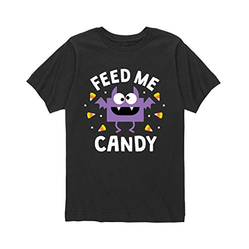 Instant Message Feed Me Candy Bat - Toddler Short Sleeve Tee Black -