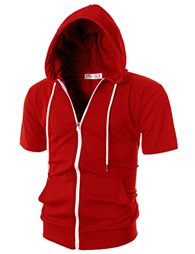 OHOO Mens Slim Fit Short Sleeve Lightweight Zip-up Hoodie with Kanga Pocket/DCF007-RED-S ()