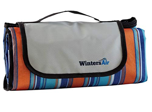 WintersAir Picnic Blanket with Tote Bag and Ground Stakes, Machine Washable, Extra Large / 79 inch x 79 Stadium Blanket, 100% Waterproof, Portable, Foldable, Lightweight Premium Grade Materials