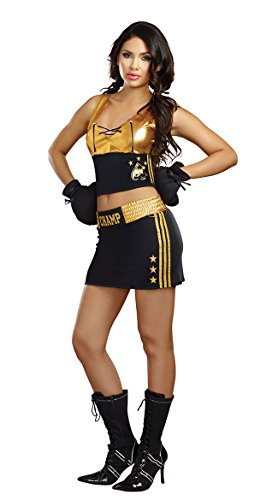 Dreamgirl Women's World Champion Costume, Black/Gold, X-Large