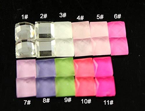 FidgetFidget Faceted Square Foiled Flatback Crystal Glass Rhinestone Jewels 50p 6mm11# Color