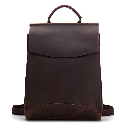 CHAO.P.J Women Girls Leather Work School Backpacks Simple Vintage Ipad Macbook Handbags by CHAO.P.J