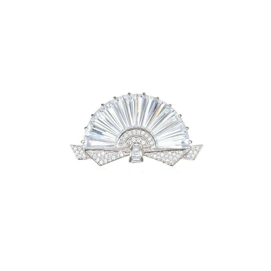 Rhodium Plate Silver Beautiful White CZ Fan Pin