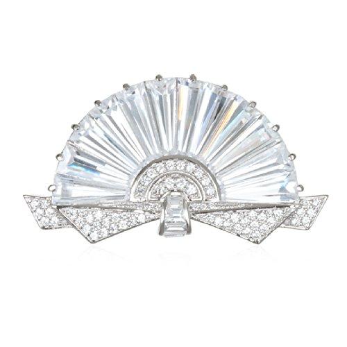Brilliant Cut White Brooch (Rhodium Plate Silver Beautiful White CZ Fan Pin)
