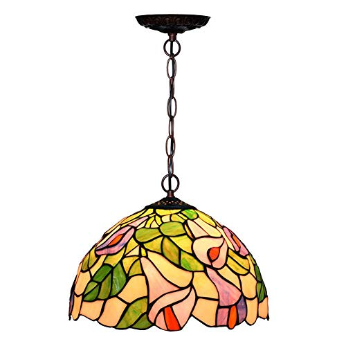 Dobany Tiffany-Style Chandelier, Euro-Style Stained Glass Art Horseshoe Pendant Light, Restaurant Cafe Ceiling Light, 12 inches (Horseshoe Clear Crystal Swarovski Design)