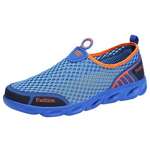 Women's Athletic Walking Shoes, Casual Mesh-Comfortable Jogger Sneakers Summer Outdoor Quick-Dry Slip-On Running Shoe (Blue, US:8.5)