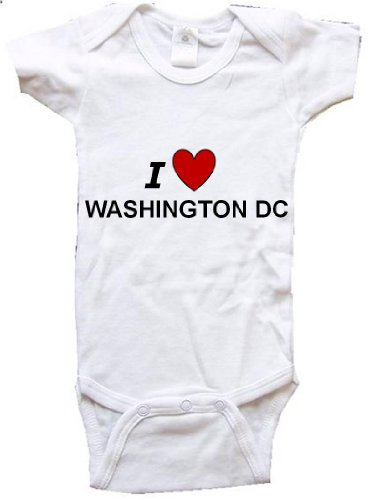 I LOVE WASHINGTON DC - WASHINGTON DC BABY - City Series - White Baby One Piece Bodysuit - size Medium - Baltimore Maryland Malls