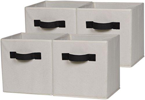 OneSpace 50-CB4P08 Foldable Cloth Storage Cube Set, 4 Pack, Beige