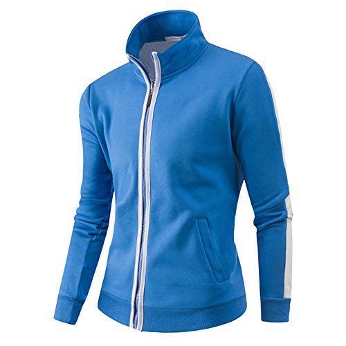 WUAI Clearance Deals, Men's Baseball Jackets Outdoors Fashion Sports Full-Zip Athletic Active Outwear(Blue,US Size L = Tag ()