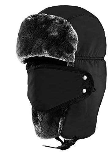 c8898313dc497e Winter Trooper Trapper Hat, with Earflap Chin Strap and Windproof Mask,  Warm Hunting Ushanka Russian Style Hat for Women and Men(Black)