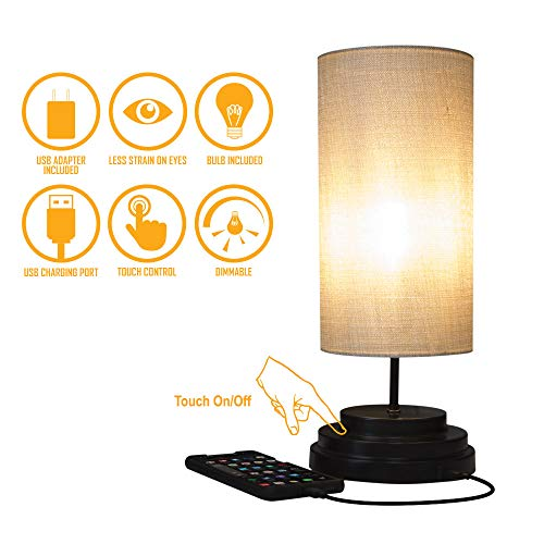 AULTRA LED Touch Table LAMP - Table Lamp Shade with Dimmable Touch Control Features & Phone Charging Port Used for… 1