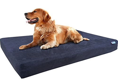 Dogbed4less XL Orthopedic Gel Infused Cooling Memory Foam Dog Bed for Medium to Large Pet, Waterproof Liner and Suede Espresso External Cover, 47X29X4 Inches (Fit 48X30 crate) by Dogbed4less