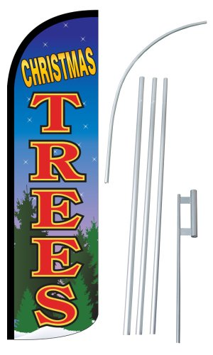 """NEOPlex - """"CHRISTMAS TREES"""" 12-foot SUPER Swooper Feather Flag With Heavy-Duty 15-foot Pole and Ground Spike"""