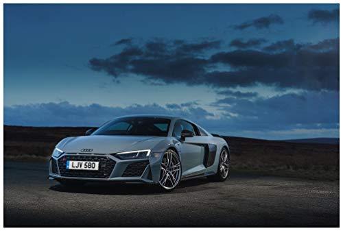 V10 Spec - Audi R8 V10 Performance UK Spec (2019) Car Art Poster Print on 10 mil Archival Satin Paper Blue Front Side Static View (18