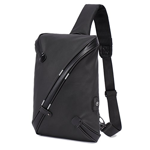 Becky Sling Chest Shoulder Backpack,Travel Fashion Crossbody Bag Multipurpose Casual Daypacks for Men&Women,Hiking Triangle Rucksack with USB Charging Port-Black by BECKY
