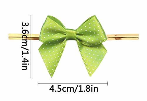 Lollipop Bow - Green Gift Bows,Twist Tie Bows for Bakery Candy Lollipop Cello Bag (50 Pack)
