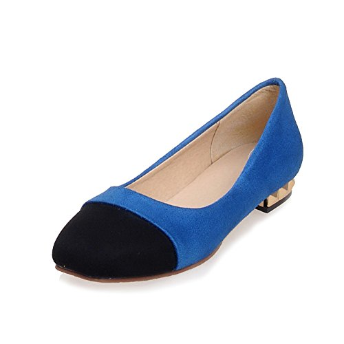 Allhqfashion Womens Frosted Vierkante Dichte Teen Lage Hakken Pull-on Assorti Kleur Pumps-schoenen Blauw