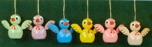 6 Erzgebirge Wood Easter Chick Ornaments