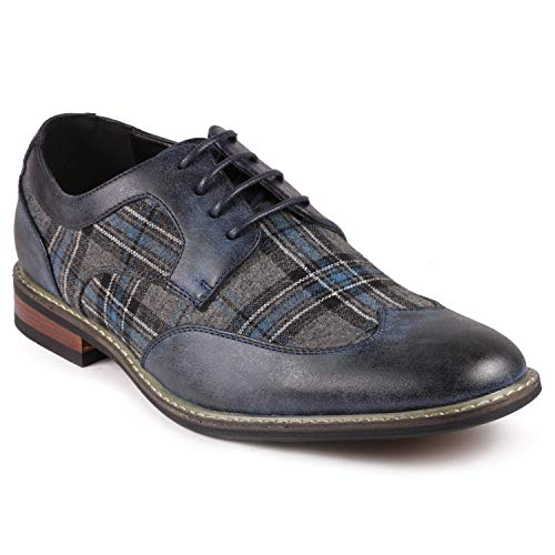 Metrocharm Alex-06 Men's Plaid Lace Up Wing Tip Classic Oxford Dress Shoes (11, Navy/Gray/Teal)