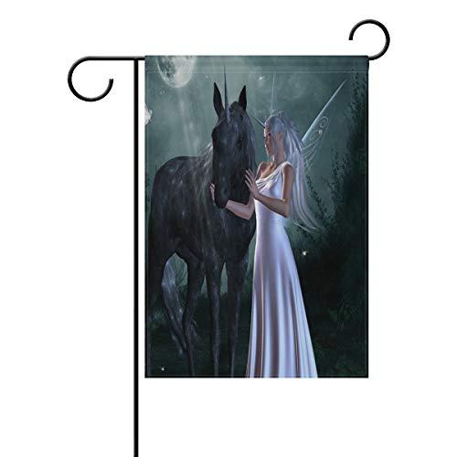 (Pingshoes Beautiful Girl Unicorn Garden Flag Indoor & Outdoor Decorative Flags for Parade Sports Game Family Party Wall Banner Season Porch Lawn 12