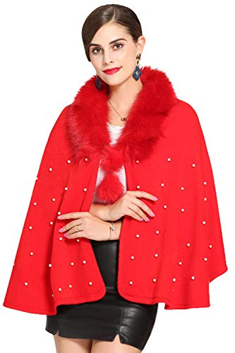 MisShow Winter Warm Shawl Wrap Faux Fur Scarf Stole for Wedding Party Red